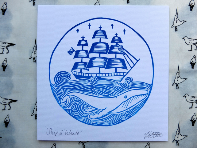'Ship & Whale' Nautical Lino Print Card