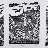 SALE Knaresborough Houses Yorkshire Landscape Original Lino Print