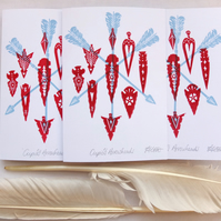 Cupid's Arrows Hand Printed Lino Valentine's Card