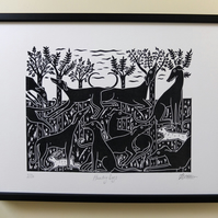 Hunting Dogs Greyhounds Original landscape Lino Print