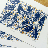 Purple and Gold Starlings Birds Lino Print