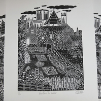 York Minster Walls View Original Lino Print