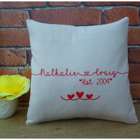Personalised Couples Cushion (SKU00624) Choice of Colours Available