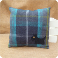 Blue Tartan Scottie Dog Cushion (SKU00686)