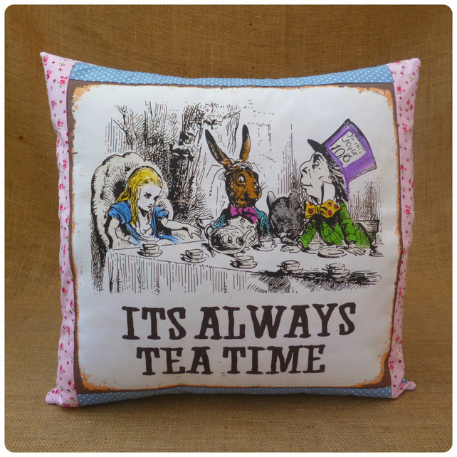 Mad Hatters Tea Party Alice in Wonderland Cushion (SKU00570)