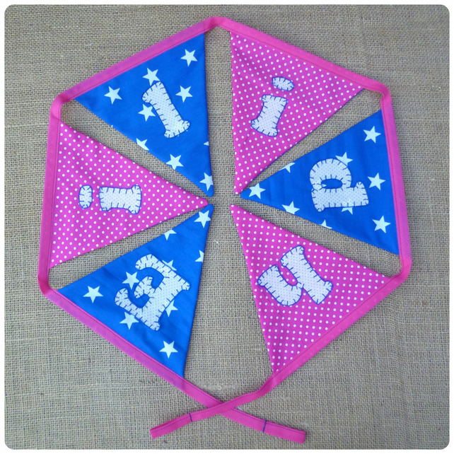 Personalised Stars and Spots Bunting, Your Choice of Colours (SKU00642)