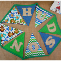 Personalised Monkey Bunting (SKU00078)