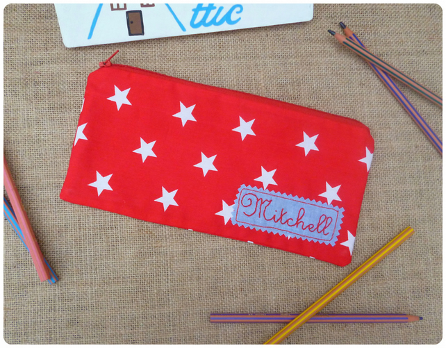 Personalised Red Stars Pencil Case (SKU00427)