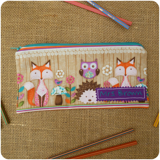 Personalised Woodland Critters Pencil Case (SKU00583)