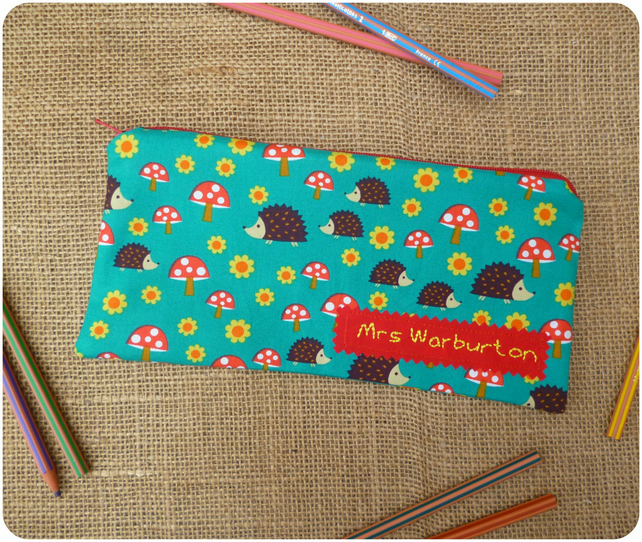Personalised Hedgehogs Pencil Case (SKU00586)