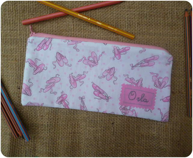 Personalised Ballet Shoes Pencil Case (SKU00587)