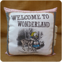 Welcome to Wonderland Alice in Wonderland Cushion (SKU00692)