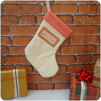 Personalised Calico and Red Gingham Christmas Stocking (SKU00662)
