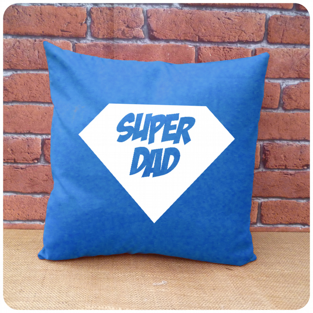 Super Daddy Cushion, Gift for Dad, Choice of Colours Available (SKU00701)