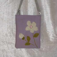 Handbag, mauve with cream wool detail