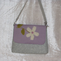 Handbag, mauve and grey  with cream wool detail