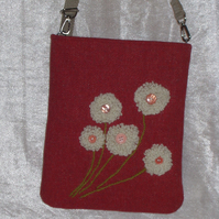 Handbag,burnt orange with cream wool detail
