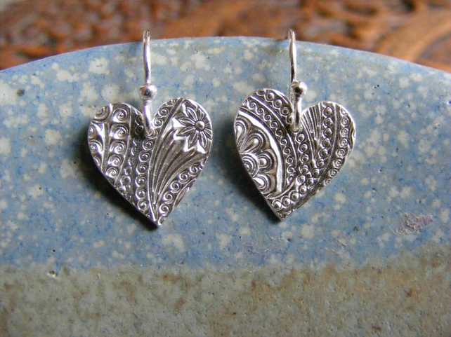 Patterned Heart Earrings Large