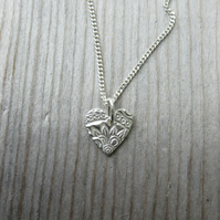 Patterned Heart Necklace Tiny