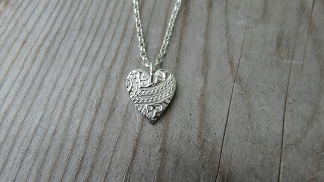 Patterned Heart Necklace small