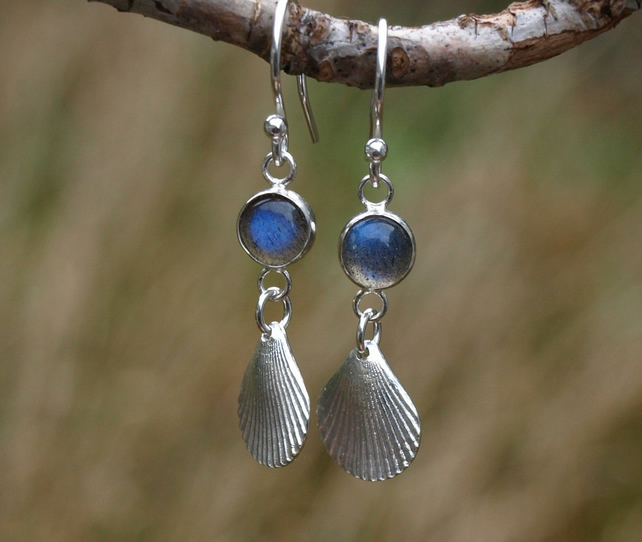 Shell Labradorite Earrings