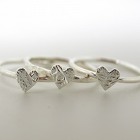 One Patterned  Heart Stackring