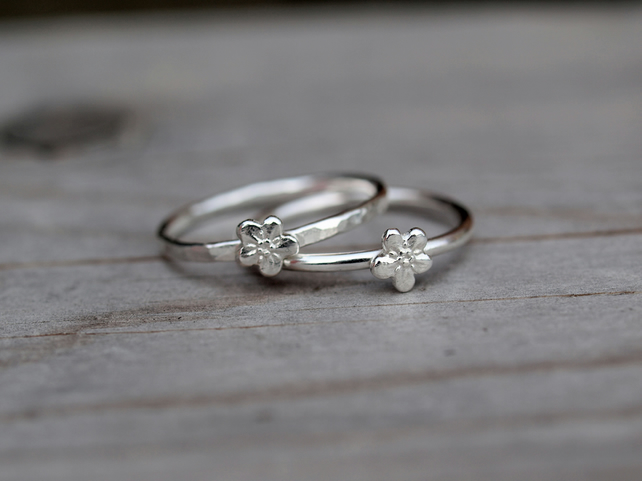 One Silver Forget-Me-Not Stack Ring