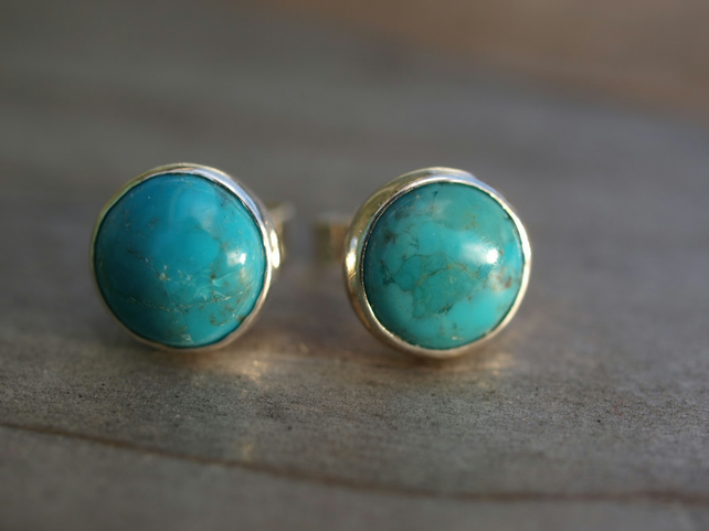 Turquoise Stud Earrings 8mm