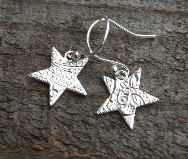 Patterned Star Earrings Large
