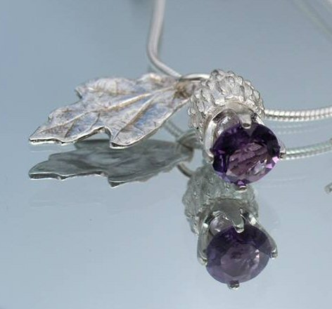 Amethyst Thistle  & leaf Necklace