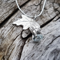 Aquamarine Thistle Necklace