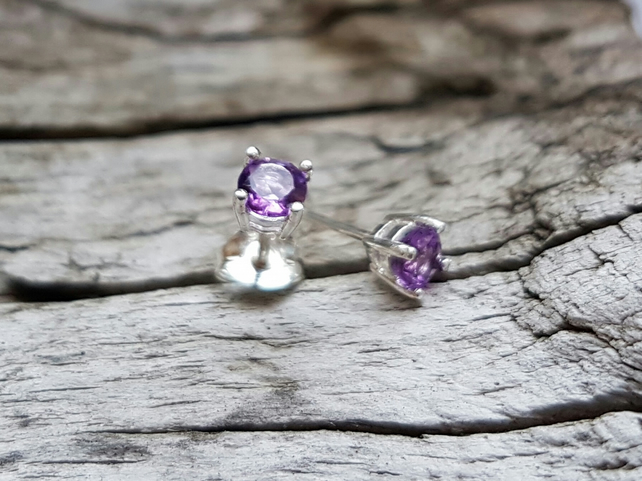 Amethyst Faceted Studs 4mm