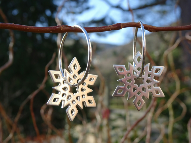 Snowflake Hoop Earrings.