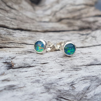 Opal Earrings 5mm dark