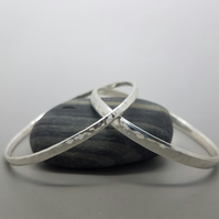 Narrow Hammered Bangle