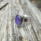 Purple Oval Labradorite Ring - size P