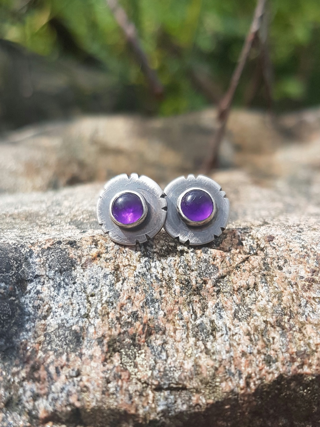 Amethyst Tribal Stud Earrings