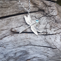 Dragonfly Aquamarine Necklace
