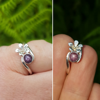 Star Ruby Flower Ring L to M