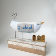 SALE - Fabric Sea Bird with Wire Heart and Little Huts