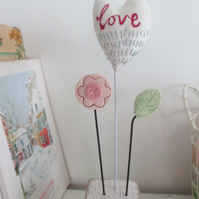 SALE - Hand Stitched Fabric Love Heart on a Wire Stalk with a Clay Flower