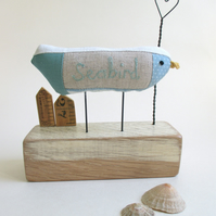SALE - Fabric Seabird with Wire Heart and Little Huts