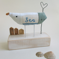 SALE - Fabric Sea Bird - Seagull with Wire Heart and Little Recycled Ruler Huts