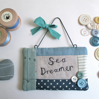 'Sea Dreamer' fabric quilted sign with buttons