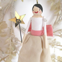 Vintage Fabric wooden Fairy Decoration