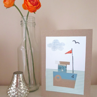 Boat Collage Handmade Greetings Card