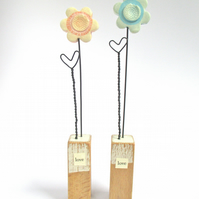 Clay Painted Flower and Wire Heart on Wooden Block 'love'