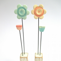 Clay Flowers on a Wooden Block