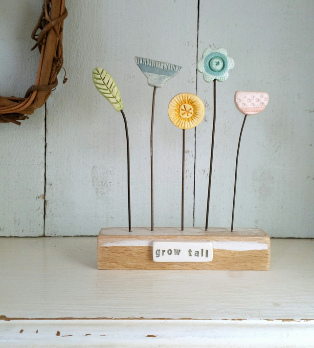 SALE - Clay Flower Garden 'Grow Tall'