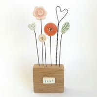 Flower Garden in an Oak Wood Block  'love'